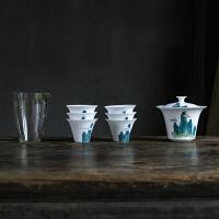 白瓷盖碗盖杯泡茶碗陶瓷三才碗大茶杯家用泡茶器功夫茶具套装 +玻璃公杯