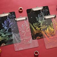 星空板夹A4透明亚克力垫板文件创意文具镭射烫金学生用星座试卷夹