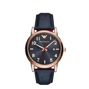 阿玛尼 Emporio Armani 男士手表皮质表带 欧美简约经典商务时尚休闲石英腕表AR11135