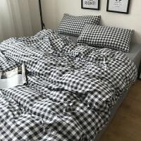 全棉四件套简约格子1.8m纯棉床单被套学生宿舍床上三件套床笠秋冬上新 小灰格