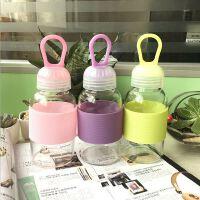 夏季新款韩国玻璃水杯创意礼品随手杯便携迷你硅胶提绳杯子广告杯