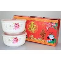 微波炉5寸6寸带盖陶瓷保鲜碗寿碗套装饭碗送回礼答谢生日礼盒