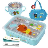 儿童保温饭盒韩国304不锈钢餐盒饭盒便当盒分格儿童小学生饭盒防烫带盖保温女 +碗+餐具 送袋