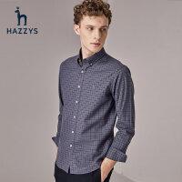 Hazzys哈吉斯男士衬衫长袖格子休闲英伦衬衣秋冬新品潮流上衣纯棉