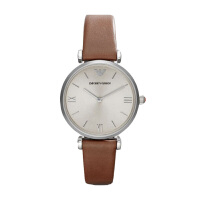 阿玛尼(Emporio Armani)手表皮制表带时尚腕表休闲简约石英 女士腕表AR1679
