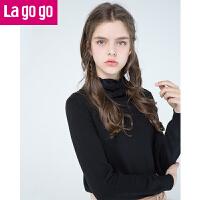 【满200减100】Lagogo2017冬季新款黑色打底毛衣蕾丝白色小高领长袖薄款针织衫女GCMM43YA08