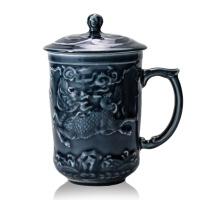 乾唐轩活瓷杯吉祥麒麟高杯陶瓷茶杯办公水杯子带盖商务礼品