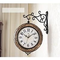 钟表双面挂钟创意客厅欧式现代简约石英钟静音装饰表双面钟 16英寸