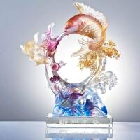 祥和丰登鱼摆件高档琉璃商务礼品结婚纪念品家居饰品摆设定制 图片色