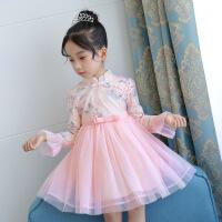 童装女童旗袍儿童连衣裙春装中大童唐装小女孩背心裙子