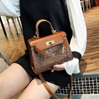 凯莉小包包女2018新款韩版简约气质亮片手提包百搭复古单肩斜跨包
