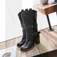 2018秋冬新款靴子女中筒靴加绒复古马丁靴女粗跟高跟高筒靴SN4876 黑色(9公分) (加绒里) 34