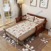 zuczug实木阳台沙发床可折叠单人中式两用客厅书房双人小户型伸缩床省空 1.5米-1.8米