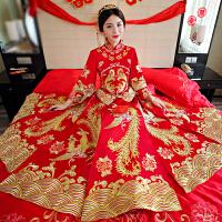 新娘中式婚纱新款秀禾服复古旗袍礼服龙凤褂秀和服结婚孕妇敬酒服yly