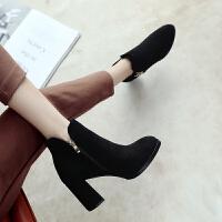 ZHR2019秋冬季韩版粗跟短靴高跟单靴百搭切尔西靴复古女靴子