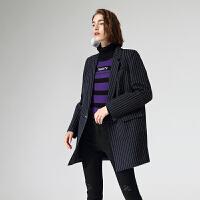 初�Z西�b外套女春季新款��Q�l�y中�L款�|肩直筒��松�L袖西服