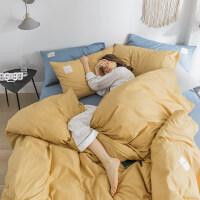 被褥套装北欧ins风床单被子套全棉四件套纯棉网红床笠三件套宿舍床上用品 全棉 姜黄