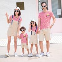 亲子装夏装新款潮韩版一家三口四口母子母女全家装条纹裙子潮