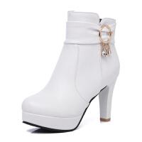 2018秋冬季新款粗跟女鞋女士高跟鞋马丁靴女短靴女靴子短筒靴单靴真皮