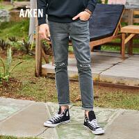 森马旗下Aiken爱肯2018夏季新款弹力灰色男士帅气简约时尚破洞潮流牛仔裤 灰色