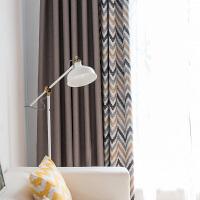 遮阳窗帘成品全遮光窗帘布简约现代落地窗客厅平面窗卧室飘窗艾薇 艾薇拉-灰咖色 宽3.0X高2.7(挂钩加工)