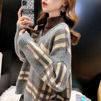 半高领假两件毛衣宽松外穿复古格子拼接针织上衣2021秋冬港风女装