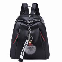 双肩包女包韩版潮流撞色软皮背包pu皮书包时尚妈咪包s6 黑色