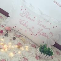 粉色英文刺绣纯白枕套字母花边枕套复古荷叶边少女小清新单人枕套 please love 不含芯枕套1只 48cmX74c
