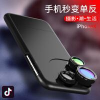 创意个性手机镜头iphoneX广角微距鱼眼摄像头硬壳苹果x手机壳