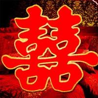 婚房布置结婚用品喜字贴 新房装饰创意婚庆用品植绒门喜字(6个)A515