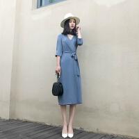 气质雪纺长裙2018春夏女装新款韩版V领连衣裙收腰系带显瘦复古裙 蓝色