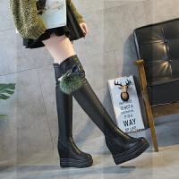 皮靴女过膝内增高靴子2018秋冬新款坡跟马靴女长筒靴超高跟瘦瘦靴SN0473