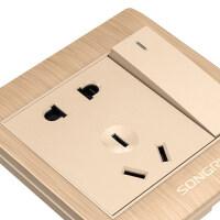 【支持礼品卡】86型暗装一开五孔usb多孔空调插座家用电源墙壁式带开关面板4dq