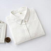 秋冬新款白衬衫女式韩国文艺纯棉竹节棉麻打底衫内搭长袖褶皱