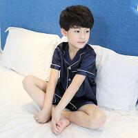 男童睡衣夏季薄款真丝儿童家居服短袖套装夏天中大童7岁小男孩 0cm(0码【身高 85-95CM】)