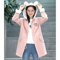 12大童14少女16秋冬装13初中学生风衣15岁韩版中长款加绒加厚外套