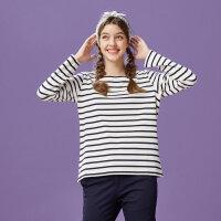 【1件4折到手价:64】美特斯邦威针织T恤女春装新款针织条纹一字领长袖恤商场款