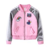 春秋季女童外套刺绣拉链衫 儿童宝宝粉红色棒球服夹克衫开衫