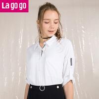 【清仓3折价89.7】Lagogo/拉谷谷2019年夏季新款时尚撞色织带衬衫HACC333Y14