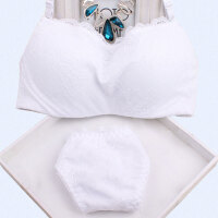 防走光自带抹胸式文胸衣蕾丝带钢圈少女纯白色裹胸式内衣围胸套装