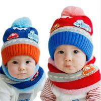 秋冬男女儿童帽子  加绒婴儿帽子 宝宝帽子围巾两件套装 毛线帽子