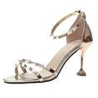 WARORWAR新品YN13-D1698夏季欧美高跟鞋细跟铆钉女凉鞋