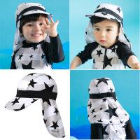 儿童泳衣男童男孩宝宝星星速干防晒连体婴儿冲浪服套装 黑白星星连体+防晒帽
