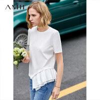 【预估价81元】Amii极简白色时尚心机T恤女2019夏季新款圆领短袖压褶不对称上衣