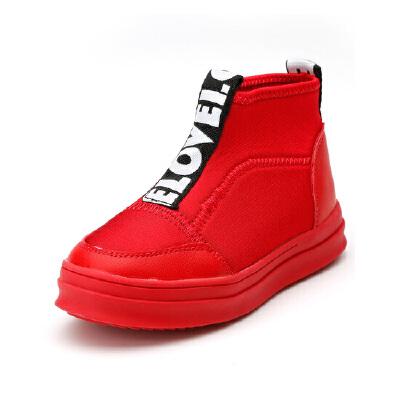 比比我童鞋男女童帆布鞋2017新款儿童弹力布布鞋中大童高帮透气休闲鞋