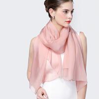 真丝丝巾女士夏春秋季披肩沙滩巾纯色长款桑蚕丝纱巾百变围巾冬季