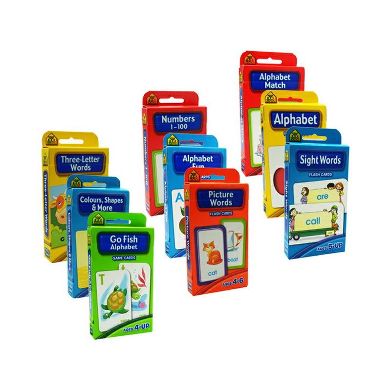 (198减40)【全套字卡9盒】School Zone Flash Cards Numbers Alphabet Words 字母单词数字闪卡 英文原版 由教育专家为不同年龄的儿童所编制,按年级编排循序渐进,内容适于学前幼儿至小学6年级的儿童。
