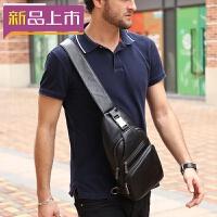 2018男士休闲挎包 潮流斜挎胸包 户外运动皮质大容量背包单肩头层牛皮 黑色