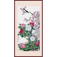 墙布画玄关花卉壁画中堂客厅家居背景墙装饰画芯中式国画富贵花开