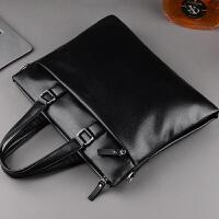 男包横款男士手提包商务电脑包单肩斜挎包手拎文件公文包 黑色 买一送三
